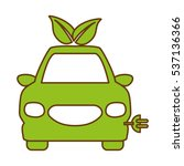 electric car with leaves icon... | Shutterstock .eps vector #537136366