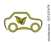 leaves and car icon over white... | Shutterstock .eps vector #537137479