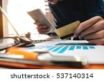 man hands using laptop and... | Shutterstock . vector #537140314