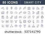 set  line icons with open path... | Shutterstock . vector #537141790