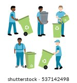 garbage collector with trash bin   Shutterstock .eps vector #537142498