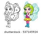 vector colorful elf fairy girl... | Shutterstock .eps vector #537145924