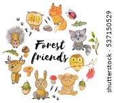 watercolor pattern with animals ... | Shutterstock . vector #537150529
