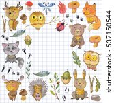 watercolor pattern with animals ... | Shutterstock . vector #537150544
