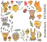 watercolor pattern with animals ... | Shutterstock . vector #537150553