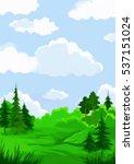 landscape  summer green forest... | Shutterstock .eps vector #537151024