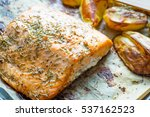 baked salmon fillet with herbs... | Shutterstock . vector #537162523