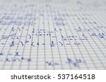 Small photo of School Notebook With Handwritten Equations, Algebra for background and design