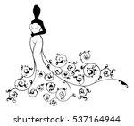 wedding concept of bride in...   Shutterstock .eps vector #537164944