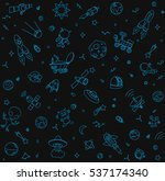 hand drawn doodle space pattern ...   Shutterstock .eps vector #537174340