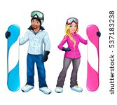 snowboarders boy and girl.... | Shutterstock .eps vector #537183238