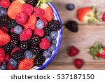 top view of a bowl of summer... | Shutterstock . vector #537187150