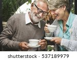 senior couple afternoon tea...   Shutterstock . vector #537189979