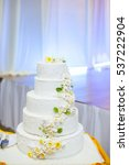 white wedding cake with flowers ... | Shutterstock . vector #537222904