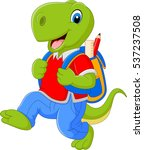 cartoon funny dinosaur with... | Shutterstock .eps vector #537237508