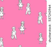 pink kids lovely pattern with... | Shutterstock .eps vector #537243964