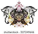 grunge butterfly with the cat's ... | Shutterstock .eps vector #537249646