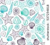 beach seashell pattern. vector... | Shutterstock .eps vector #537254818