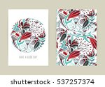 Stock vector cover design with floral pattern hand drawn creative flower colorful artistic background with 537257374