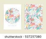 cover design with floral... | Shutterstock .eps vector #537257380