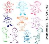 set of ten cute kids.colorful ... | Shutterstock .eps vector #537259759