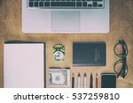 home office working space ... | Shutterstock . vector #537259810