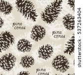 pine cones fir tree vector... | Shutterstock .eps vector #537263404