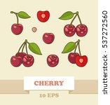 bunches of juicy cherries ... | Shutterstock .eps vector #537272560