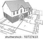 sketched house on plans | Shutterstock .eps vector #53727613