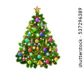 christmas tree with colorful... | Shutterstock .eps vector #537296389