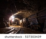 wagons in gold mine | Shutterstock . vector #537303439