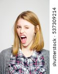angry pretty girl or cute... | Shutterstock . vector #537309214