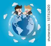 global cooperation. businessmen ... | Shutterstock .eps vector #537312820