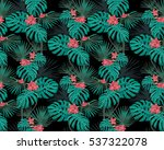 turquoise tropical leaves and... | Shutterstock .eps vector #537322078