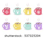 Vector Set Of Color Mugs With...