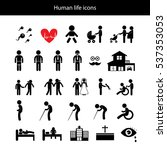 vector basic icon set for human ... | Shutterstock .eps vector #537353053