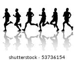 drawing running athlete an.... | Shutterstock . vector #53736154
