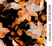 imprints leaves and flowers.... | Shutterstock . vector #537362440