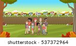 cartoon family in suburb... | Shutterstock .eps vector #537372964