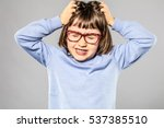 irritated 6 year old young girl ... | Shutterstock . vector #537385510