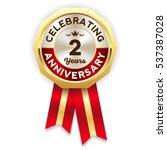 green celebrating 2 years badge ... | Shutterstock .eps vector #537387028