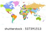vector political world map with ... | Shutterstock .eps vector #537391513
