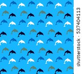 dolphins seamless pattern...   Shutterstock .eps vector #537404113