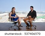 female presenter asking a... | Shutterstock . vector #537406570