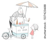 ice cream seller and girl.... | Shutterstock .eps vector #537423688