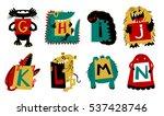 kids alphabet with cute... | Shutterstock .eps vector #537428746