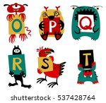 kids alphabet with cute... | Shutterstock .eps vector #537428764