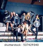 multi ethnic group of friends... | Shutterstock . vector #537429340