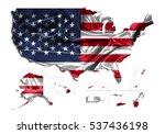 3d illustration map usa... | Shutterstock . vector #537436198