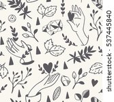 vector seamless hands pattern... | Shutterstock .eps vector #537445840